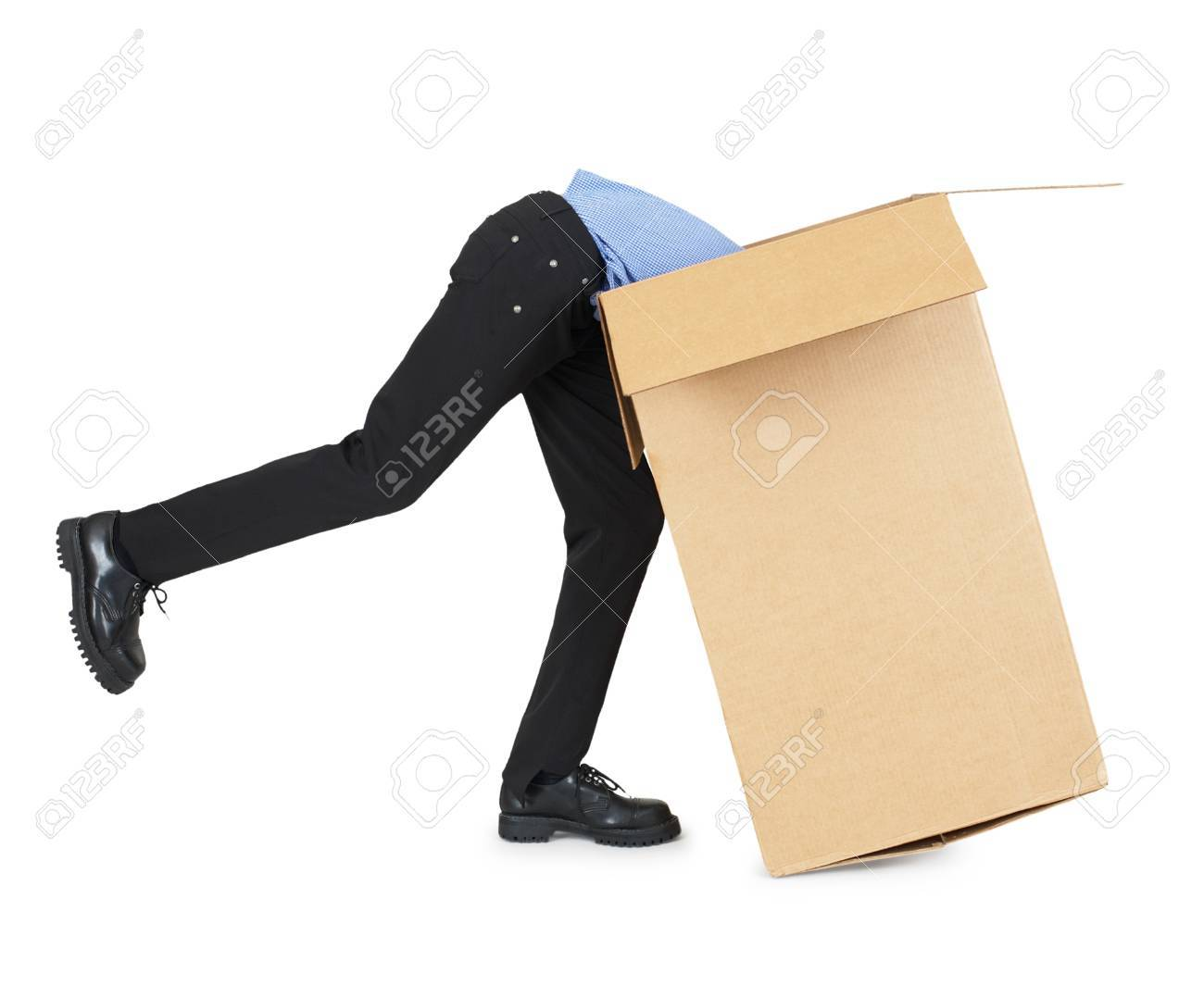 Man Looking For His Things In A Big Cardboard Box Stock Photo ...