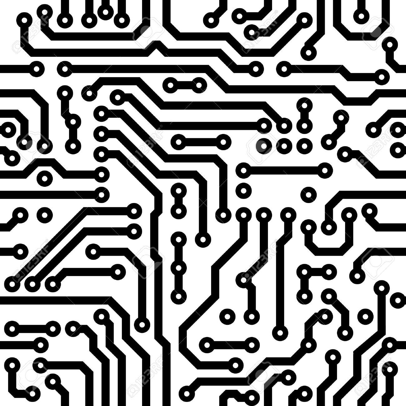 Monochrome Seamless Vector Texture - Electronic Circuit Board ...
