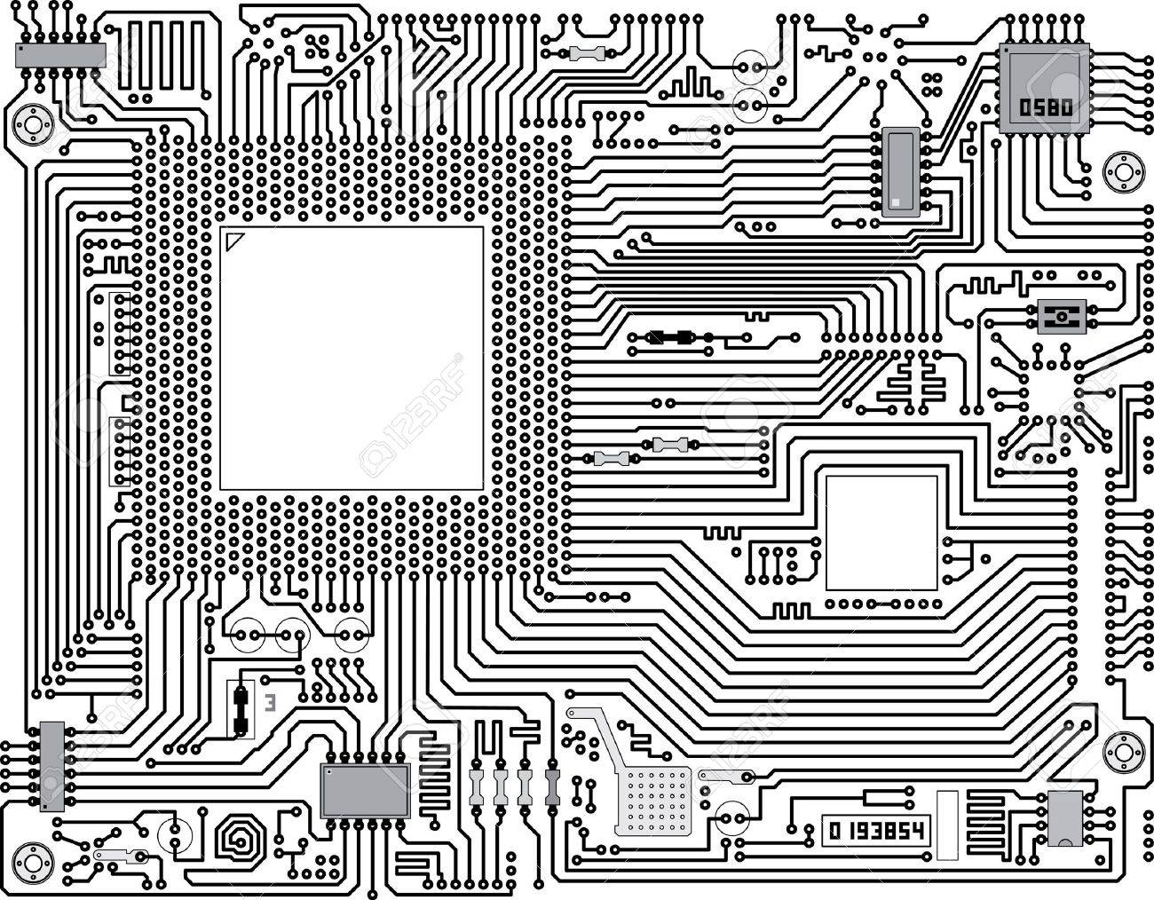 Monochrome Vector Electronic Circuit Board - Industrial Background ...