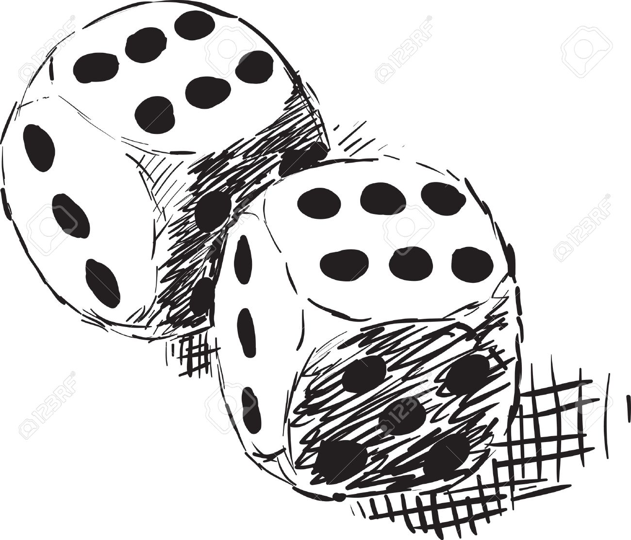 Rough monochrome sketch - two dices on white Stock Vector - 8850437