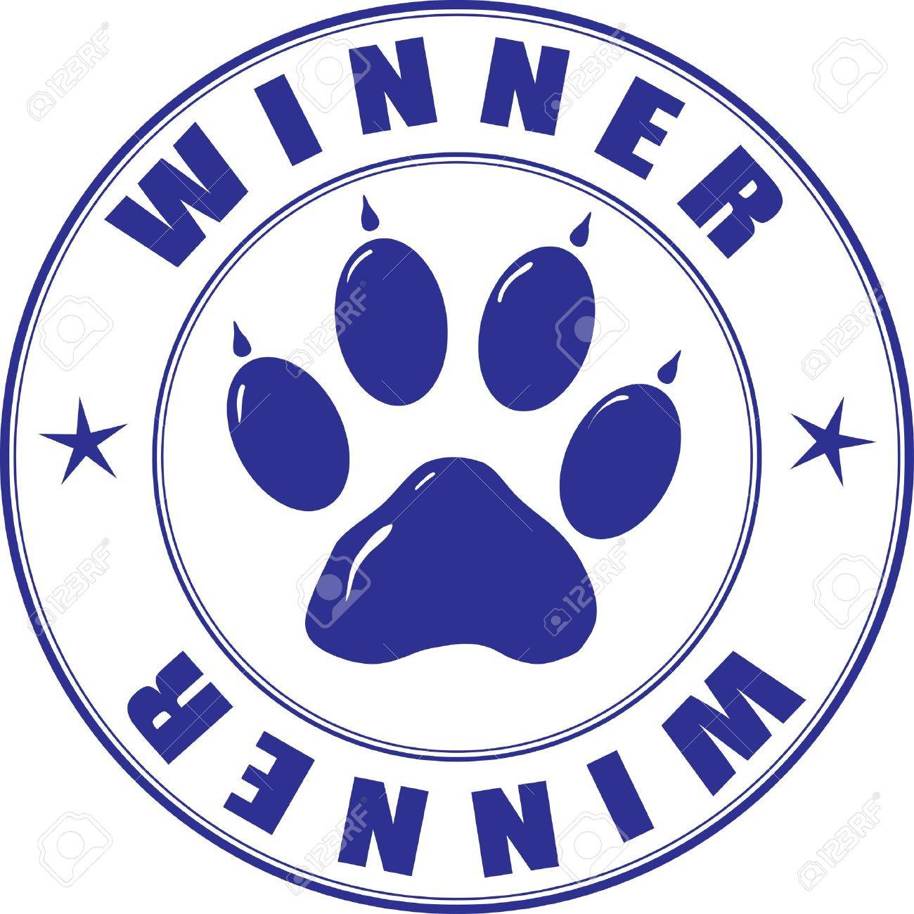Round stamp with the paw and inscription - winner Stock Vector - 8850432