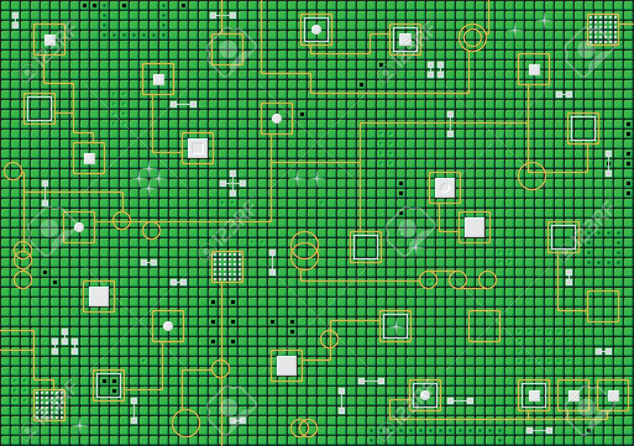 Industrial electronic hi-tech abstract green horizontal vector background Stock Vector - 10113356