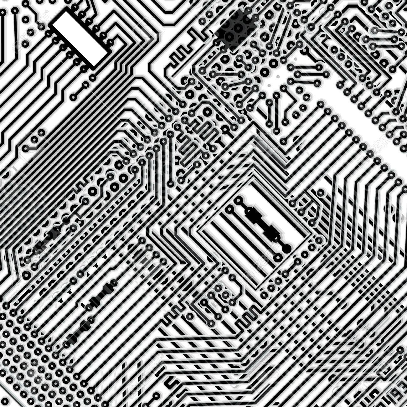 Square monochrome background - design multi-layered electronic circuit board Stock Vector - 10444312
