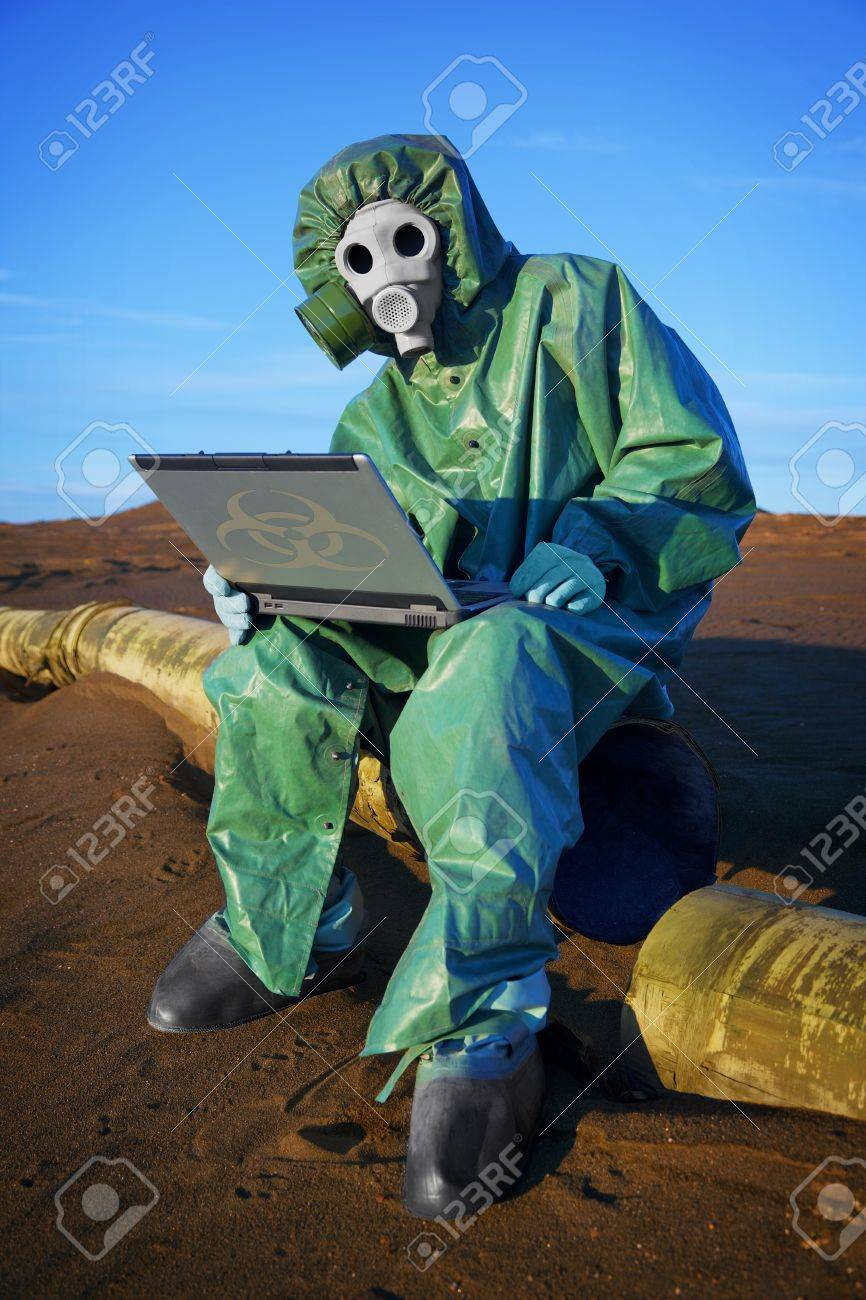 Ecologist scientist collects data at the point of ecological disaster Stock Photo - 11438850
