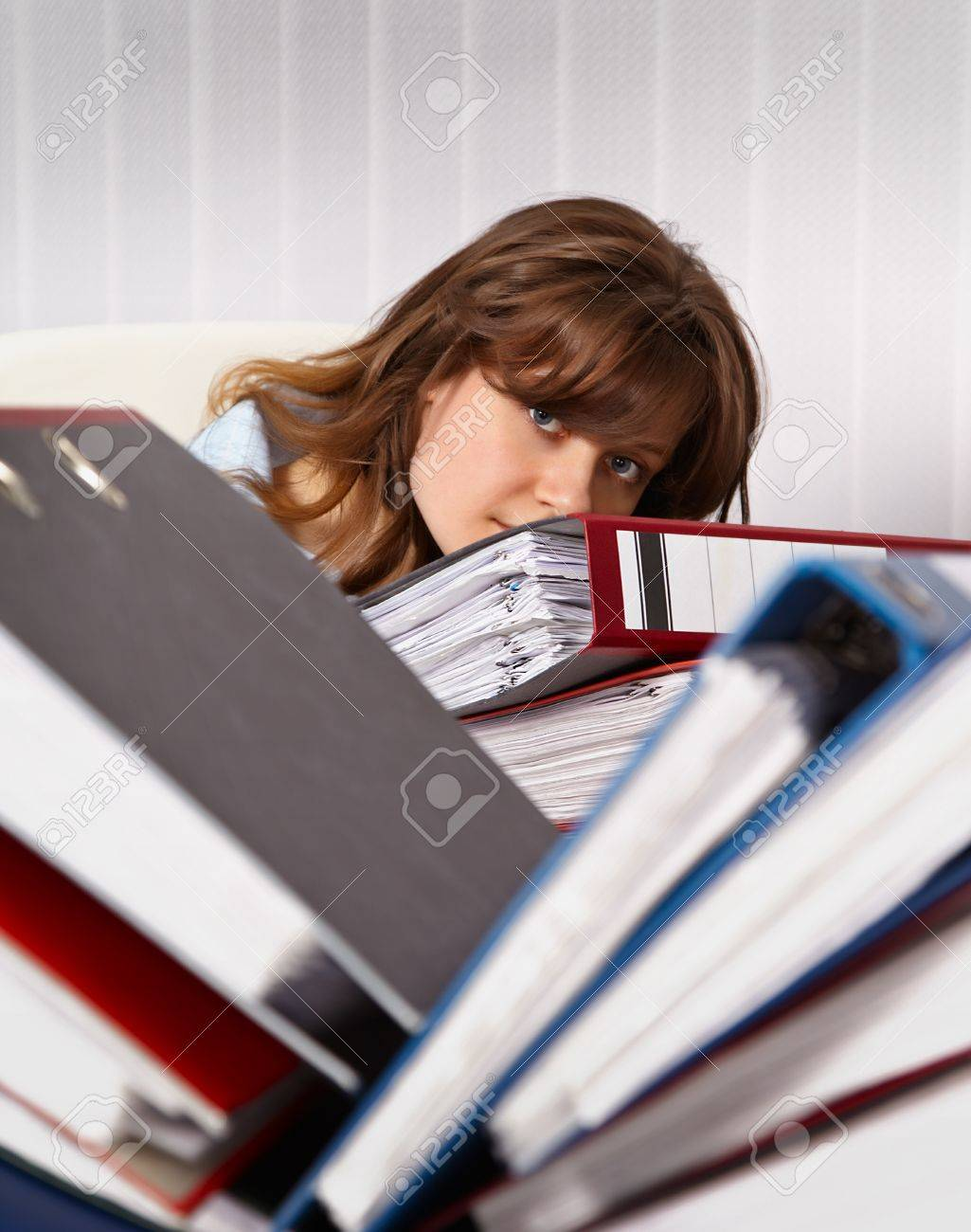 Woman secretary in the office are overworked Stock Photo - 11438845