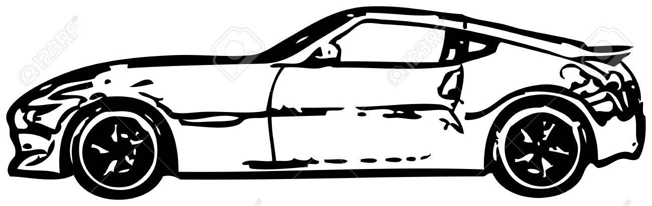 Sports car - rough monochrome vector illustration Stock Vector - 12295703