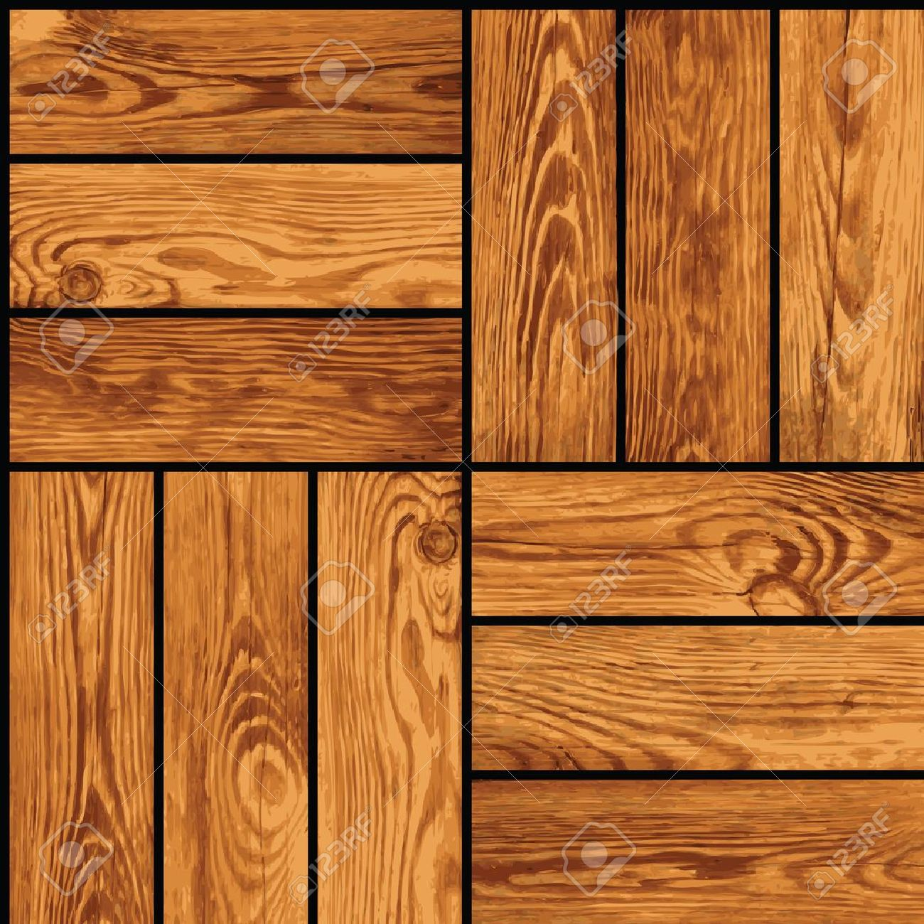 Seamless realistic texture - wooden parquet Stock Vector - 13638865
