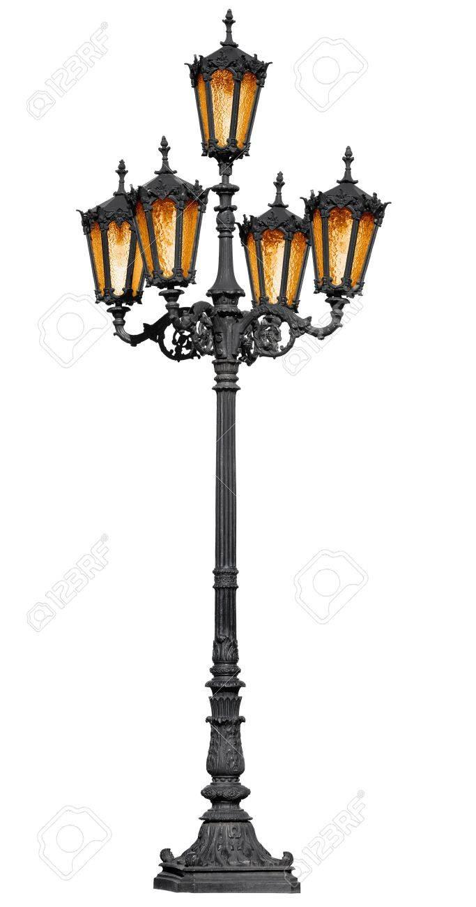 Antique cast iron lamp post isolated on white background Stock Photo - 14014837