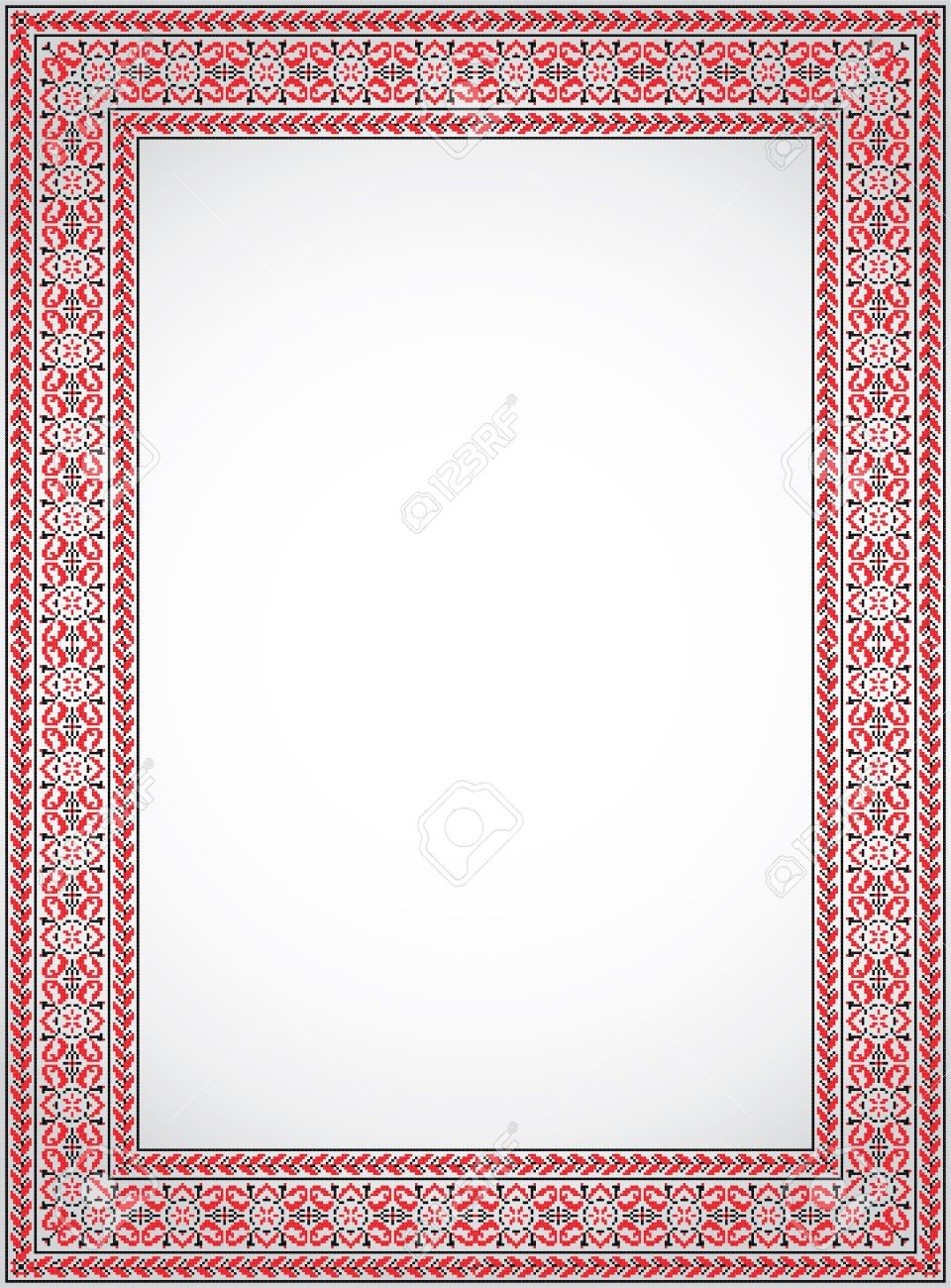 the vertical frame a stylized cross stitch ukrainian ornament stock vector 14101542