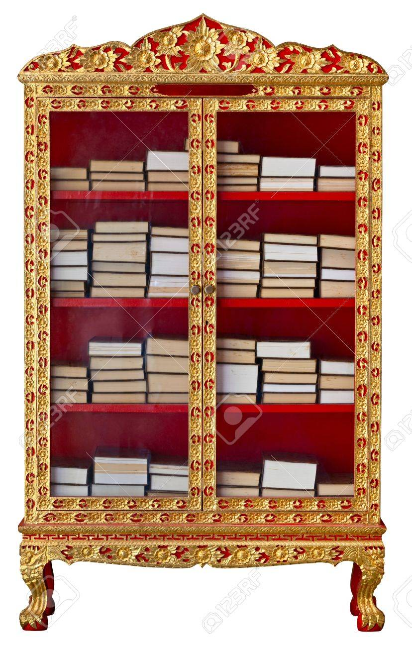 Antique Gilded Cabinet With Buddhist Meditation Books Isolated ...