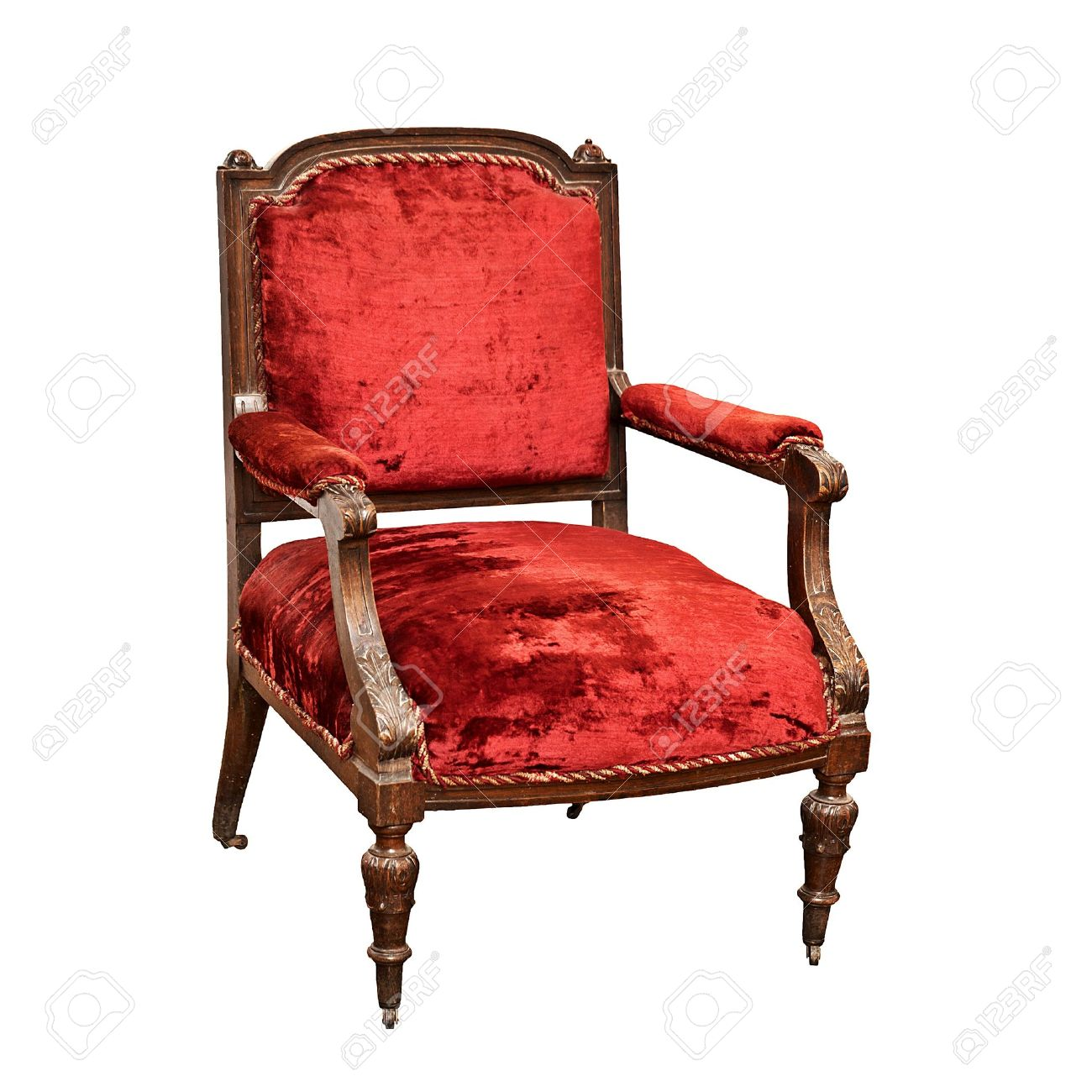 An Old Wooden Armchair With Castors On White Stock Photo   14101553