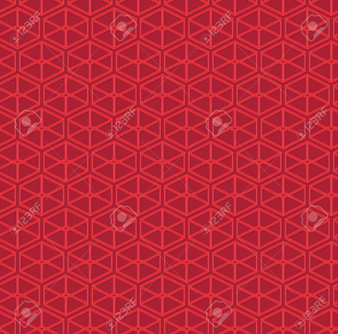 Red abstract pattern of parallelepipeds Stock Vector - 14187457