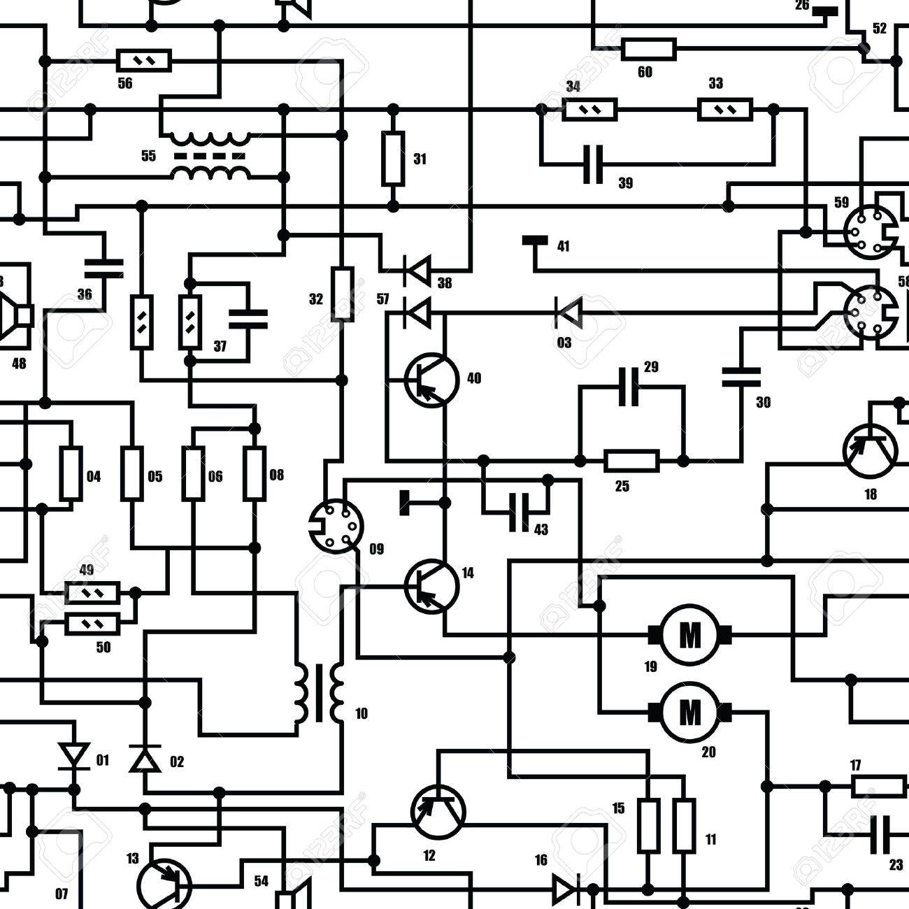 Electronic Black And White Diagram - Technical Schematic Seamless ...