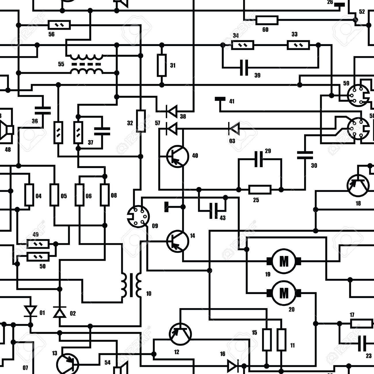 Elektronische Schwarz Und Weiß Diagramm - Technischen Schematische ...