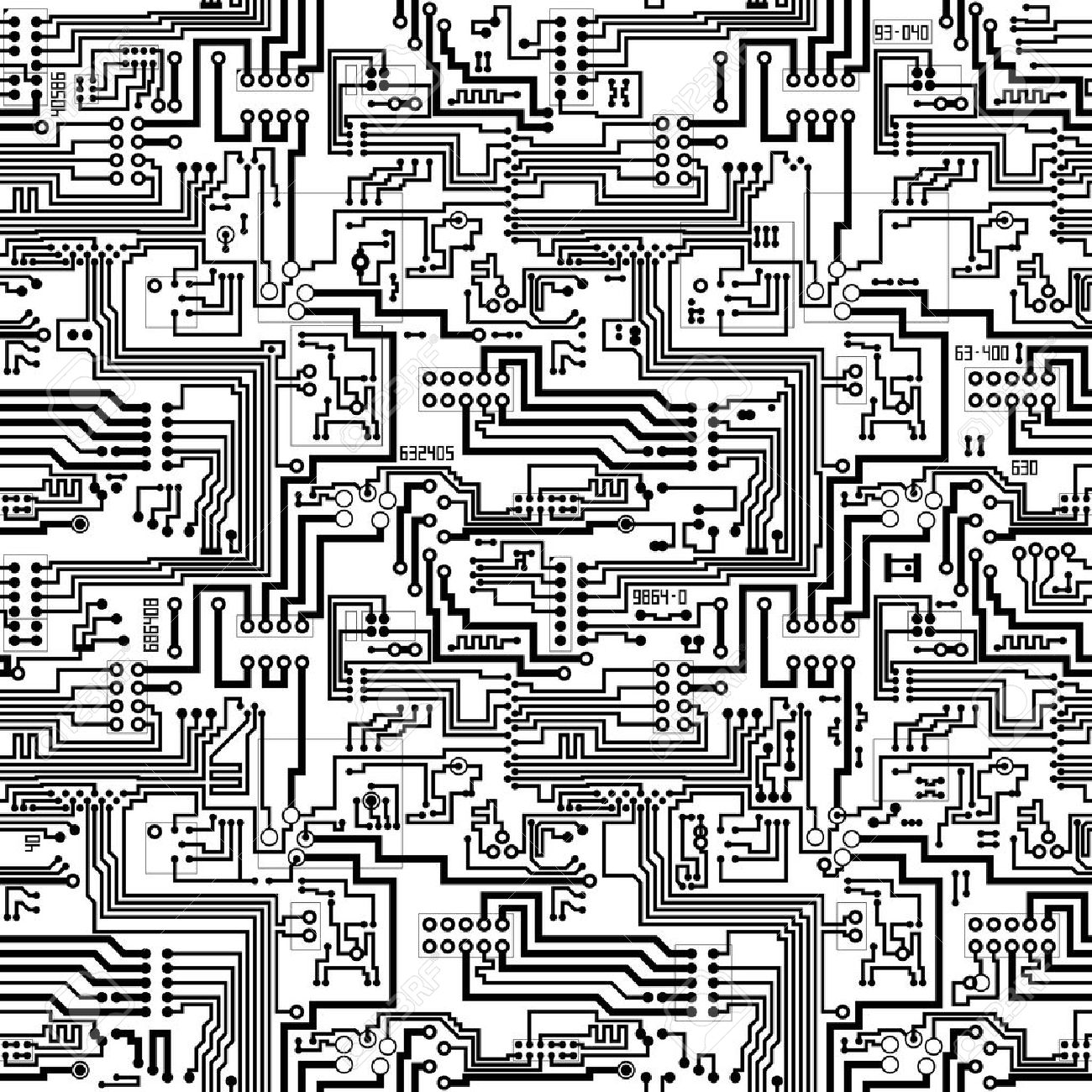 Circuit board vector computer seamless technological background - electronic black and white pattern Stock Vector - 18873450