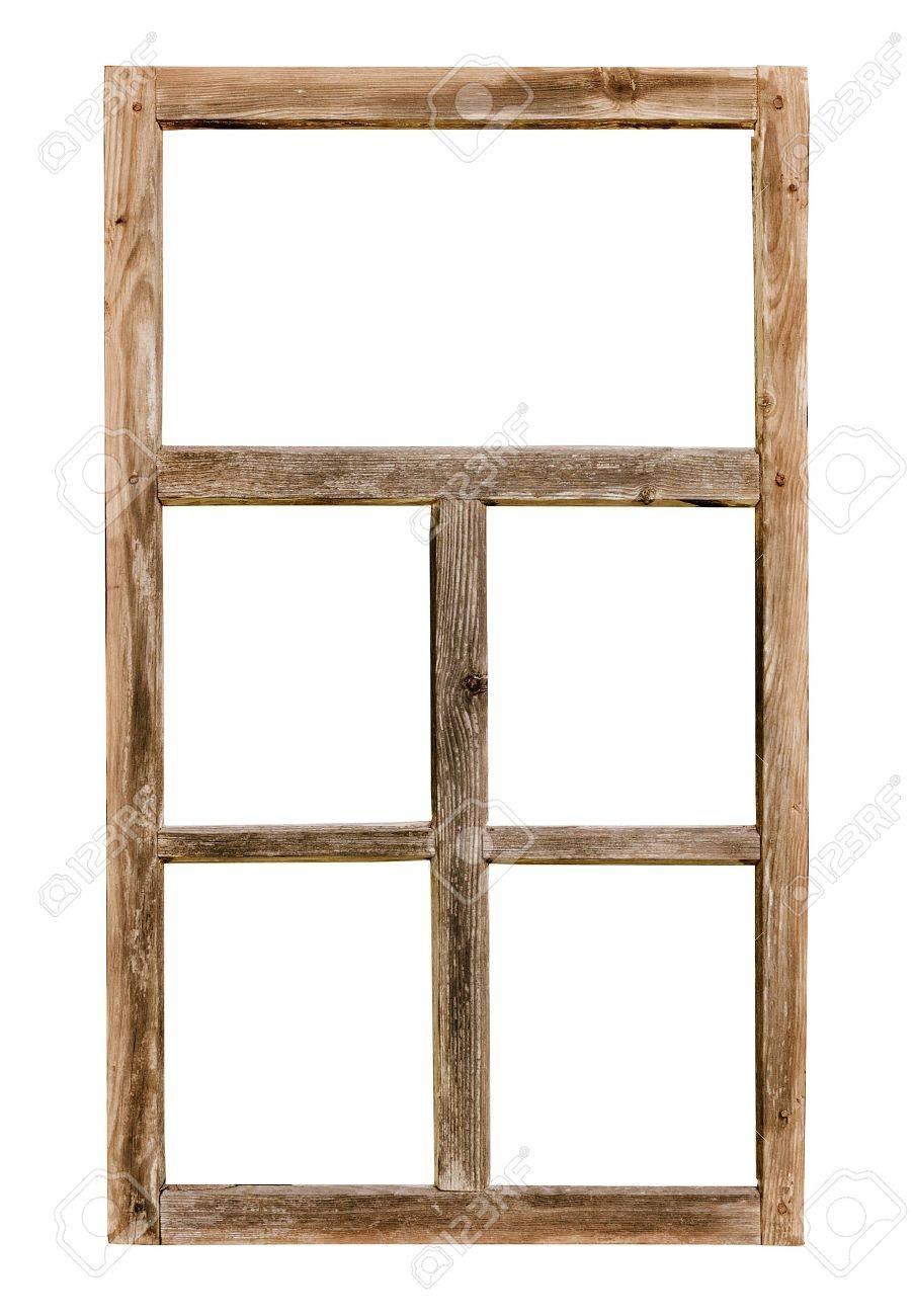 Weinlese Einfaches Fenster Holzrahmen Auf Weißem Hintergrund ...