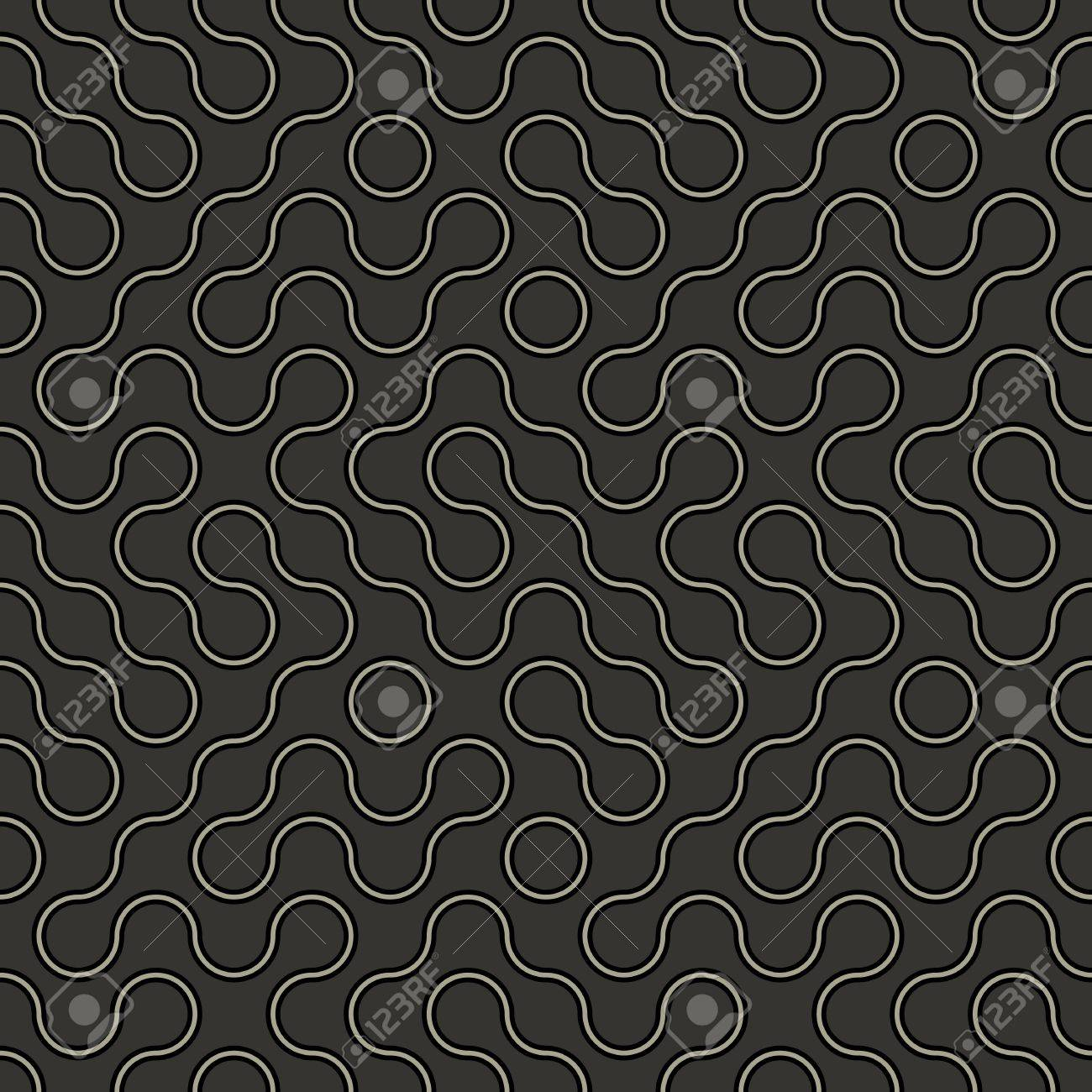 Simple abstract geometric vector modern pattern - curved lines on dark background Stock Vector - 19975394