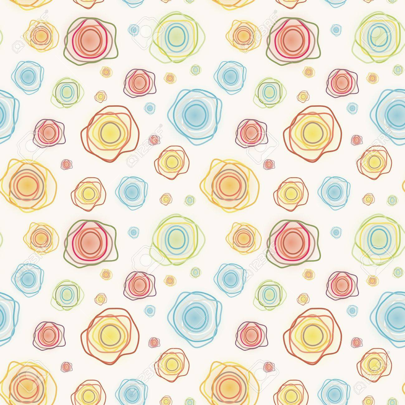 Abstract vintage seamless kawaii pattern , color curves circles on a light background Stock Vector ,