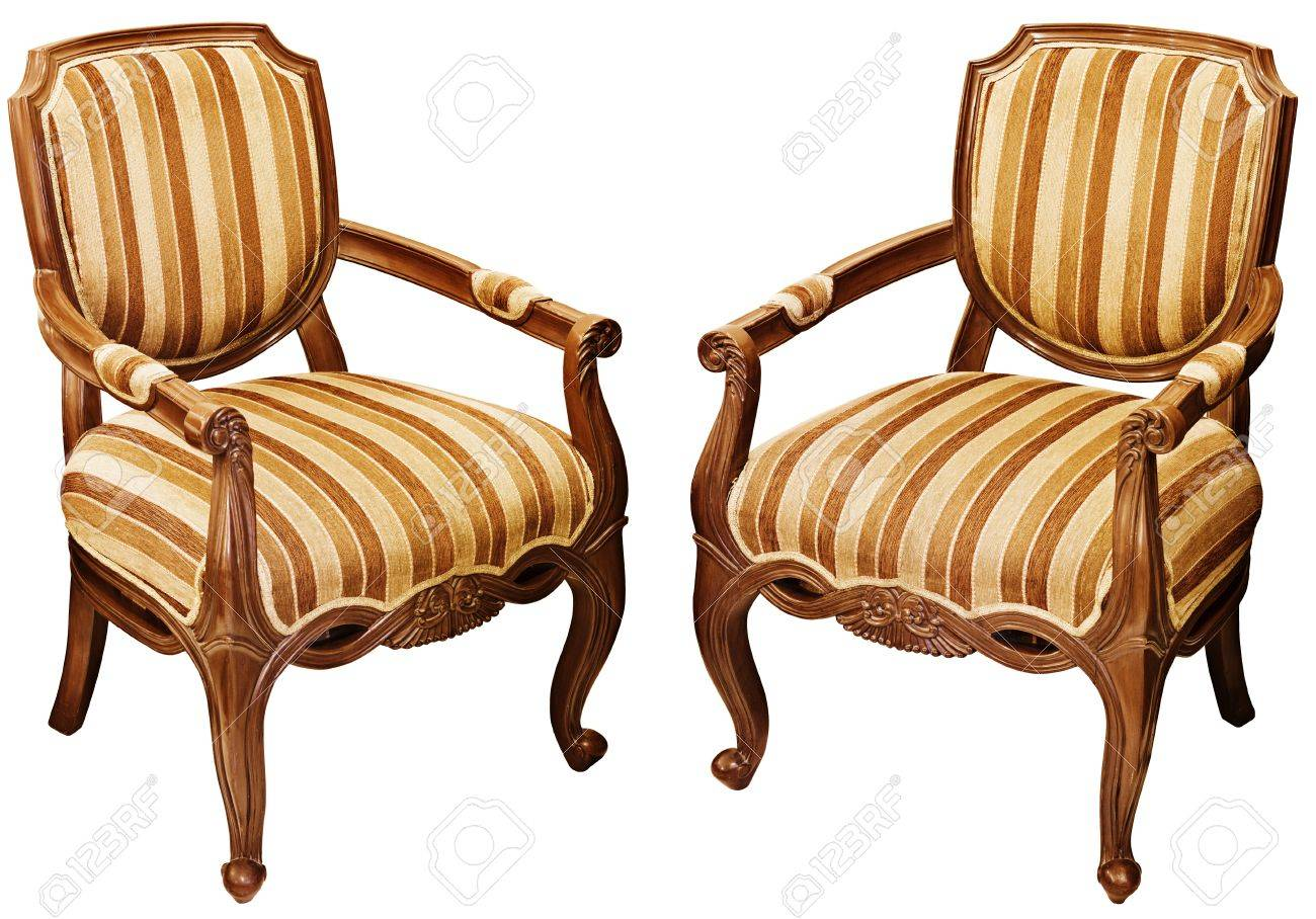 Two vintage wooden baroque armchairs isolated on white background Stock  Photo - 21921780 - Two Vintage Wooden Baroque Armchairs Isolated On White Background