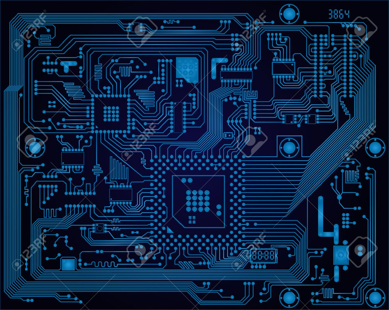 Hi-tech dark blue industrial electronic circuit board vector abstract background - 22386824