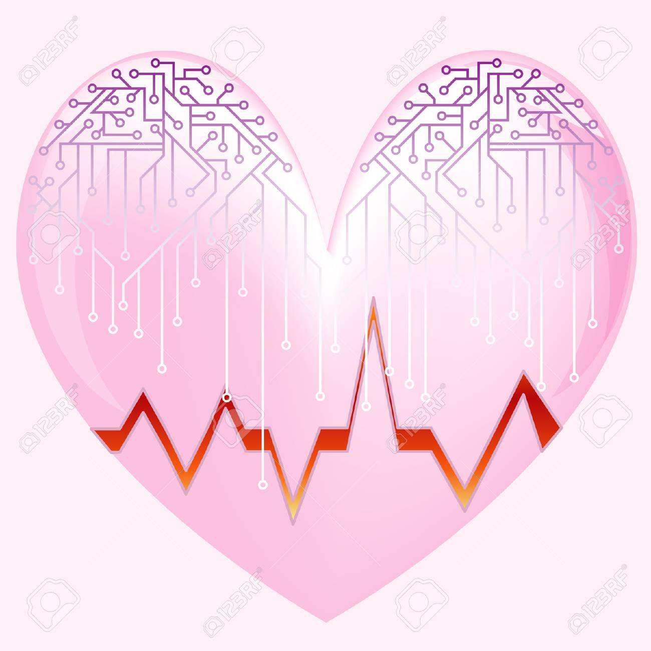 Pink heart with the cardiogramme and microcircuit - 5822804