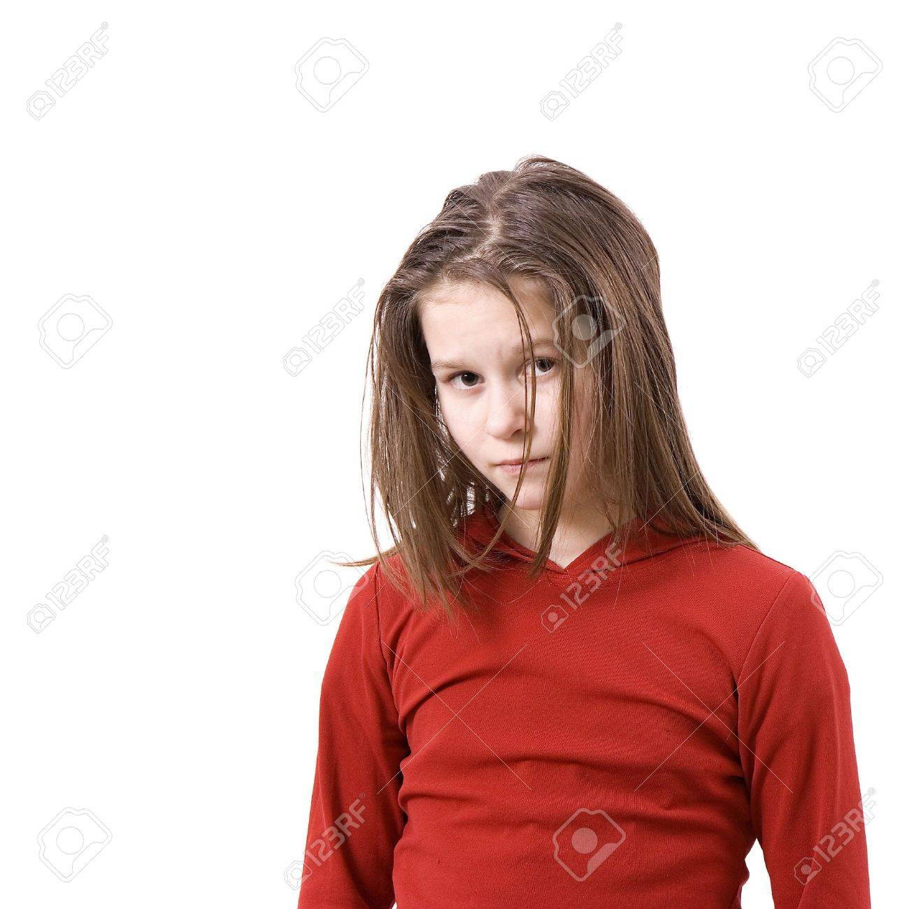 On white background the sad uncombed little girl Stock Photo - 6323277