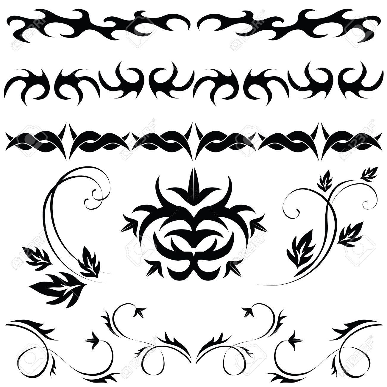 Different Set Of Gothic Patterns And Ornaments Stock Vector