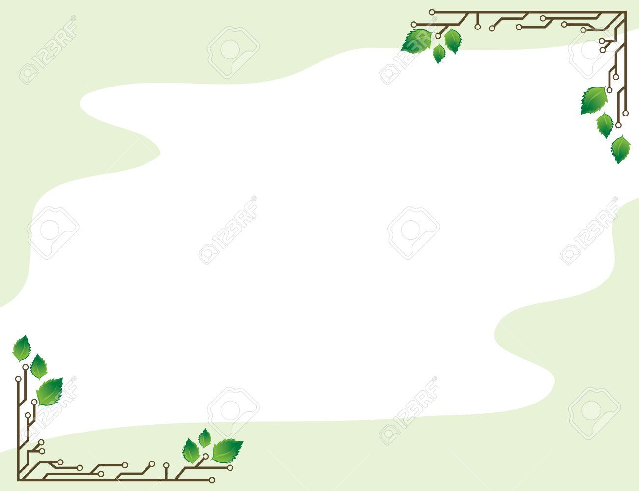Un Marco De Fondo Verde Claro Con Hojas De Abedul Y Circuitos ...