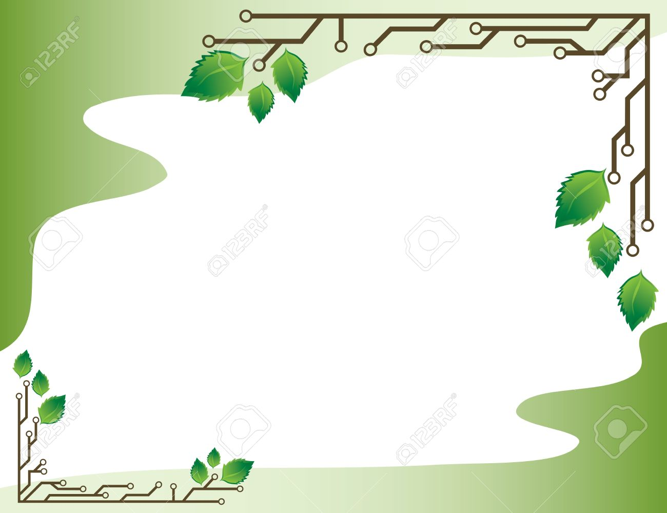 a light green background frame with birch leaves and electronic circuits stock vector 7132711 - Electronic Frame