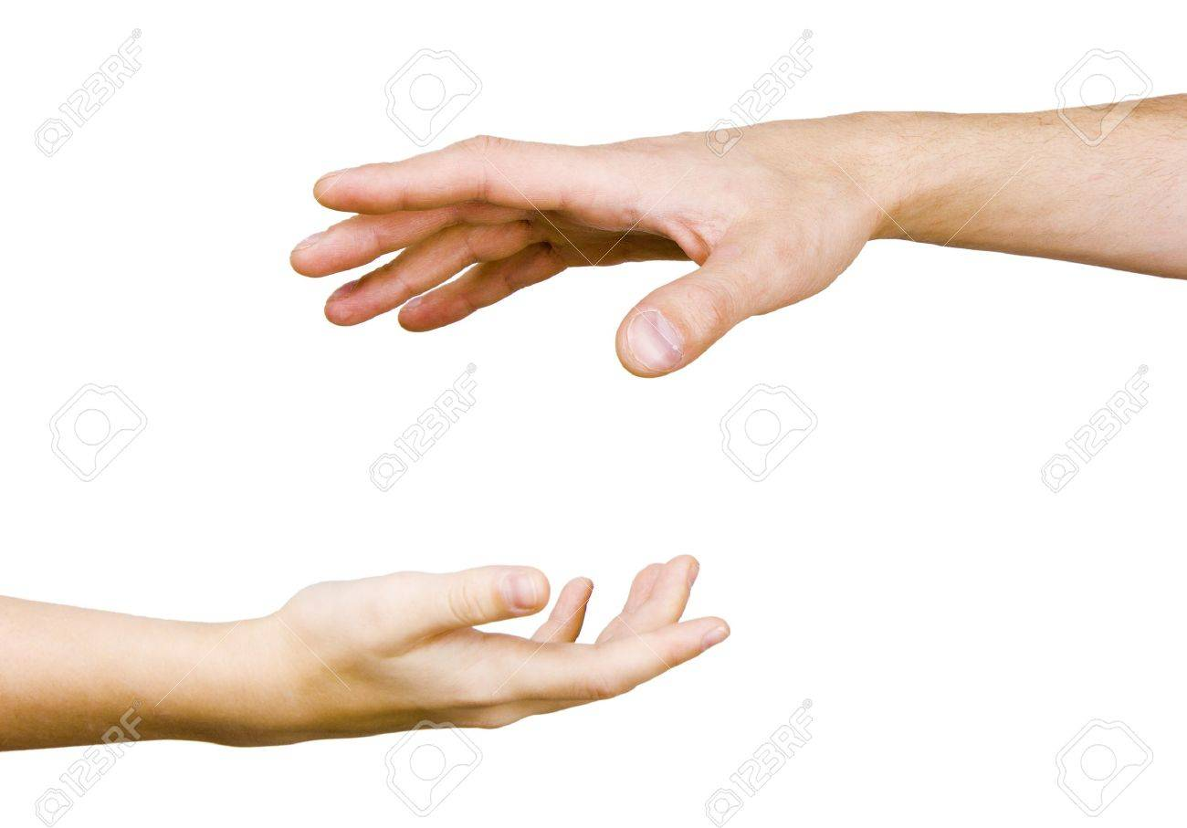 child's hand reaches for the male hand on a white background Stock Photo - 7490577