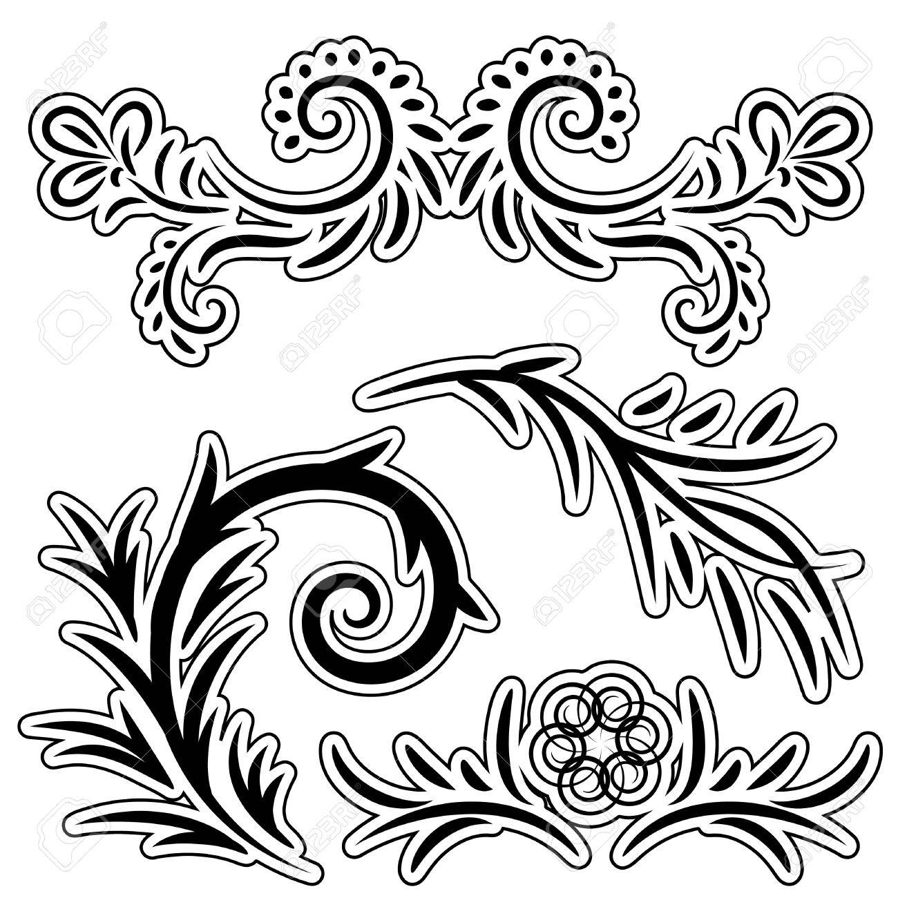 set of floral pattern on a white background Stock Vector - 8032133
