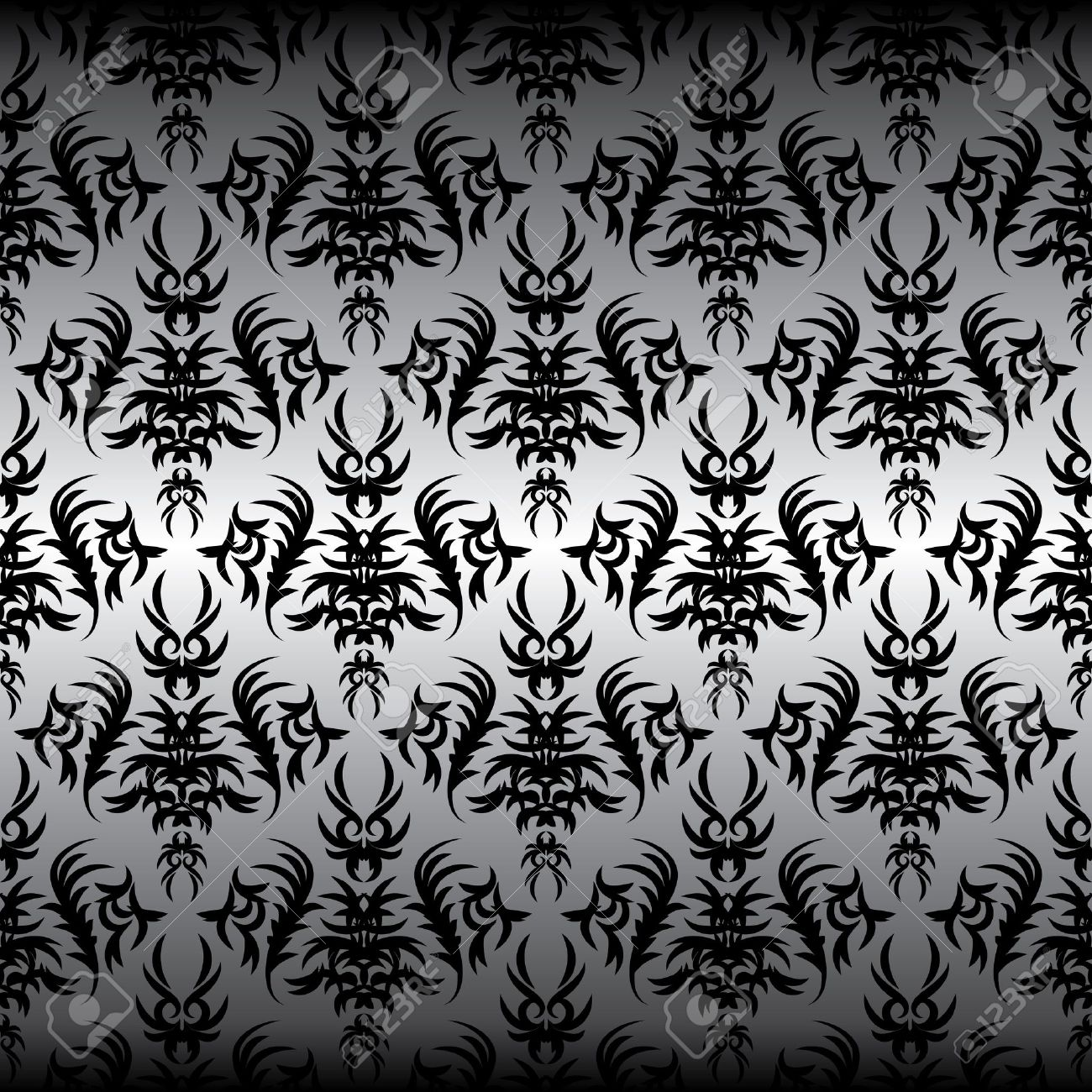 seamless black Victorian design on a gray background Stock Vector - 8092113