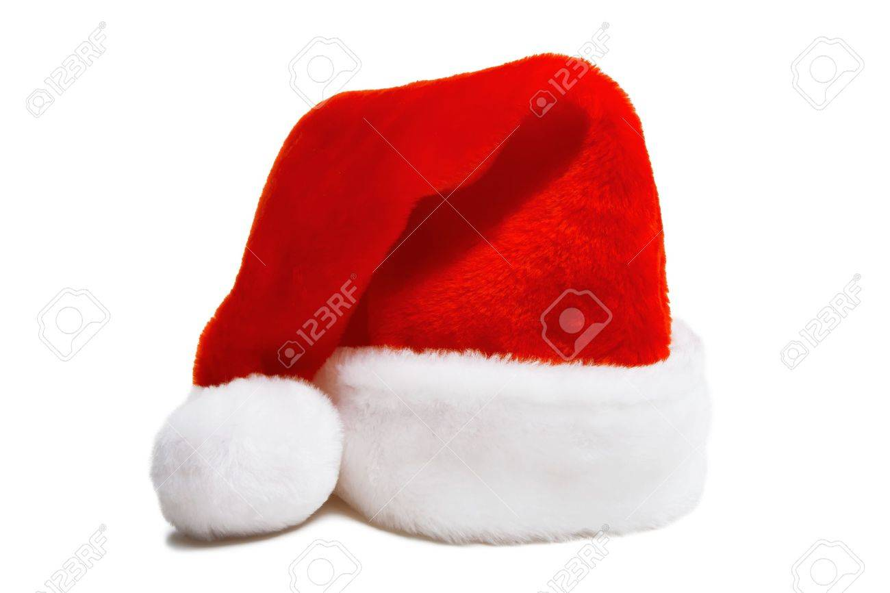 red furry Christmas hat of Santa Claus. Isolated white background Stock Photo - 8316022