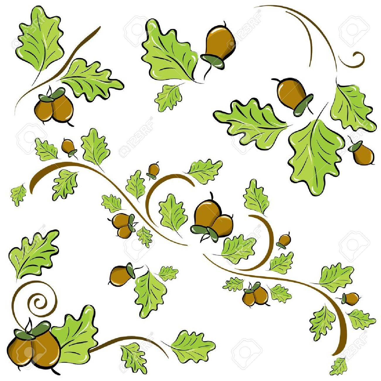 a set of ornaments made of oak leaves and acorns illustration