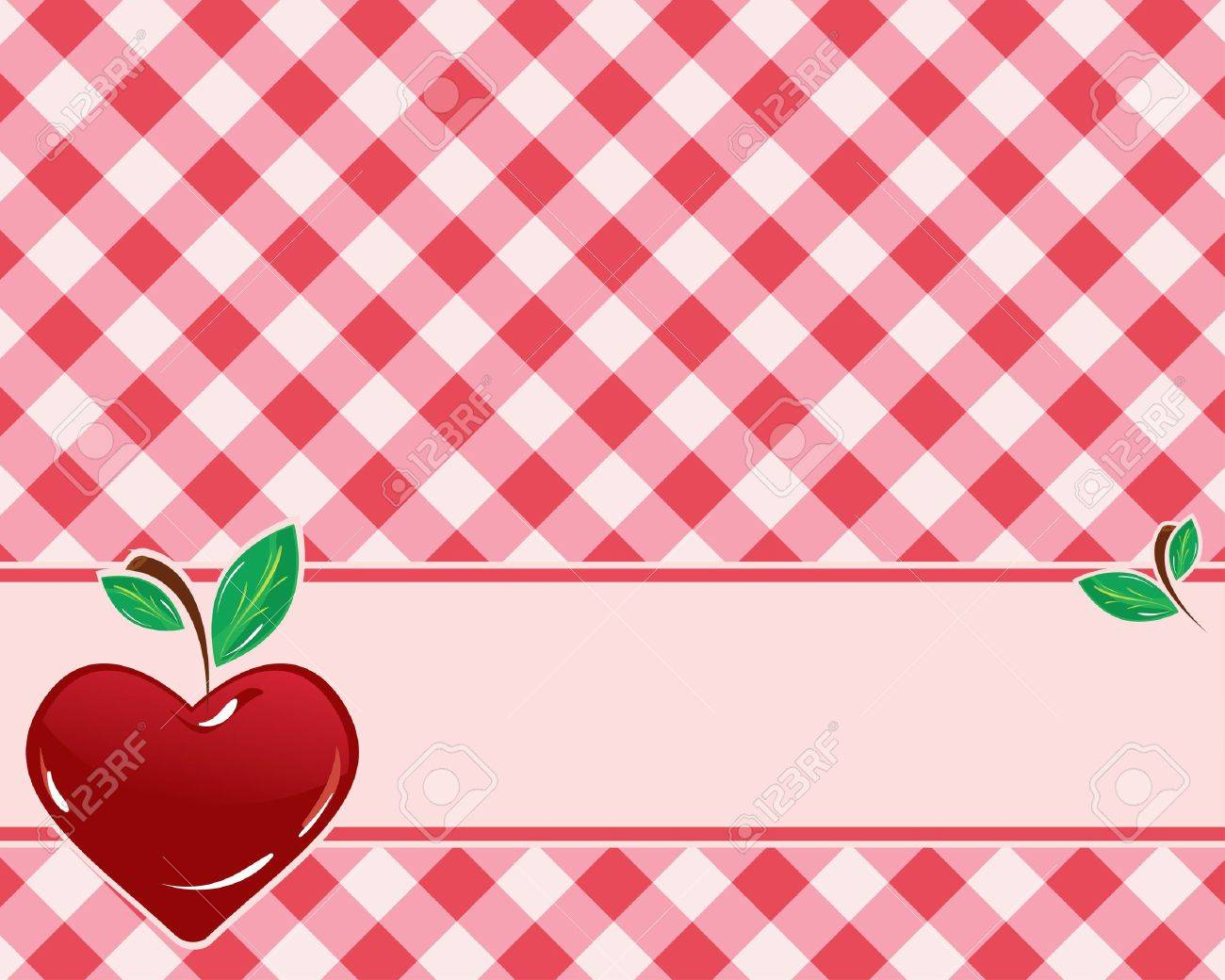 checkered background in red tones decorated with heart-shaped cherries. Vector Stock Vector - 9603940