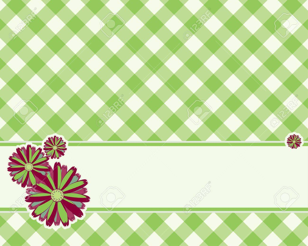 Checkered Background In A Light Green Color Decorated With Flower ...