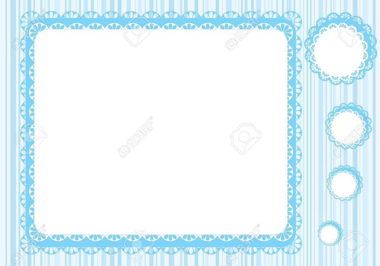Graphic Lace Frame In Blue Tones Simple Vector Illustration Stock