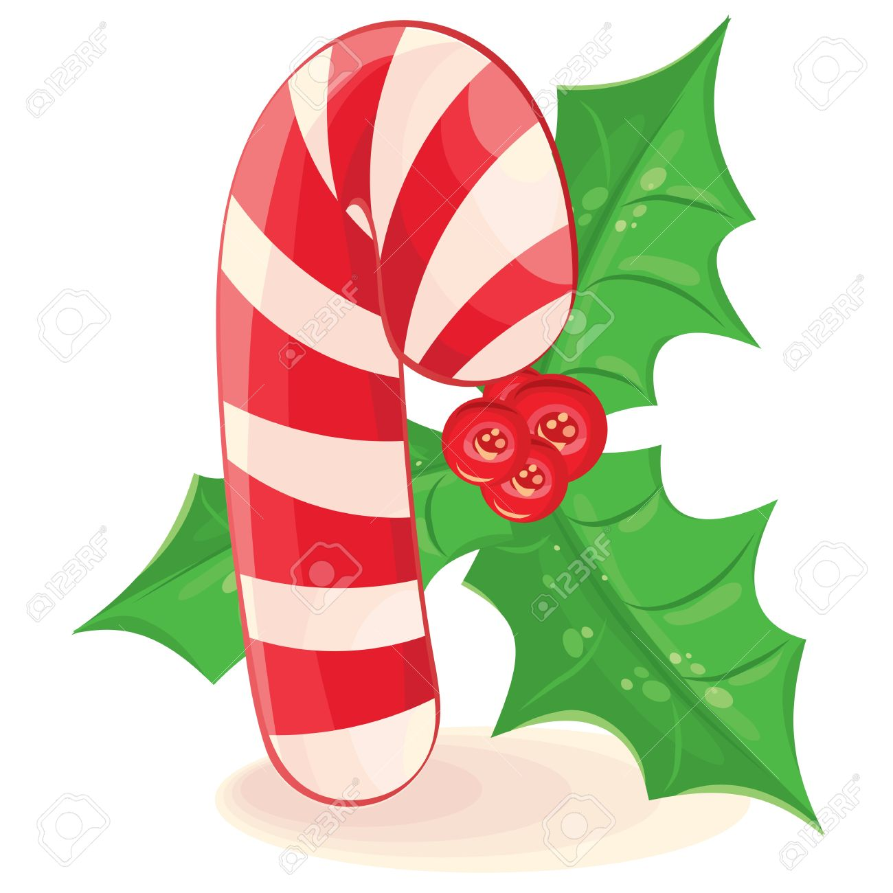 christmas candy and a branch of mistletoe vector illustration