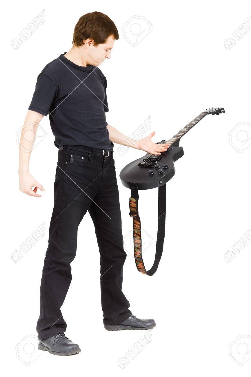 Virtuoso guitarist, dressed in black isolated white background Stock Photo - 15361363