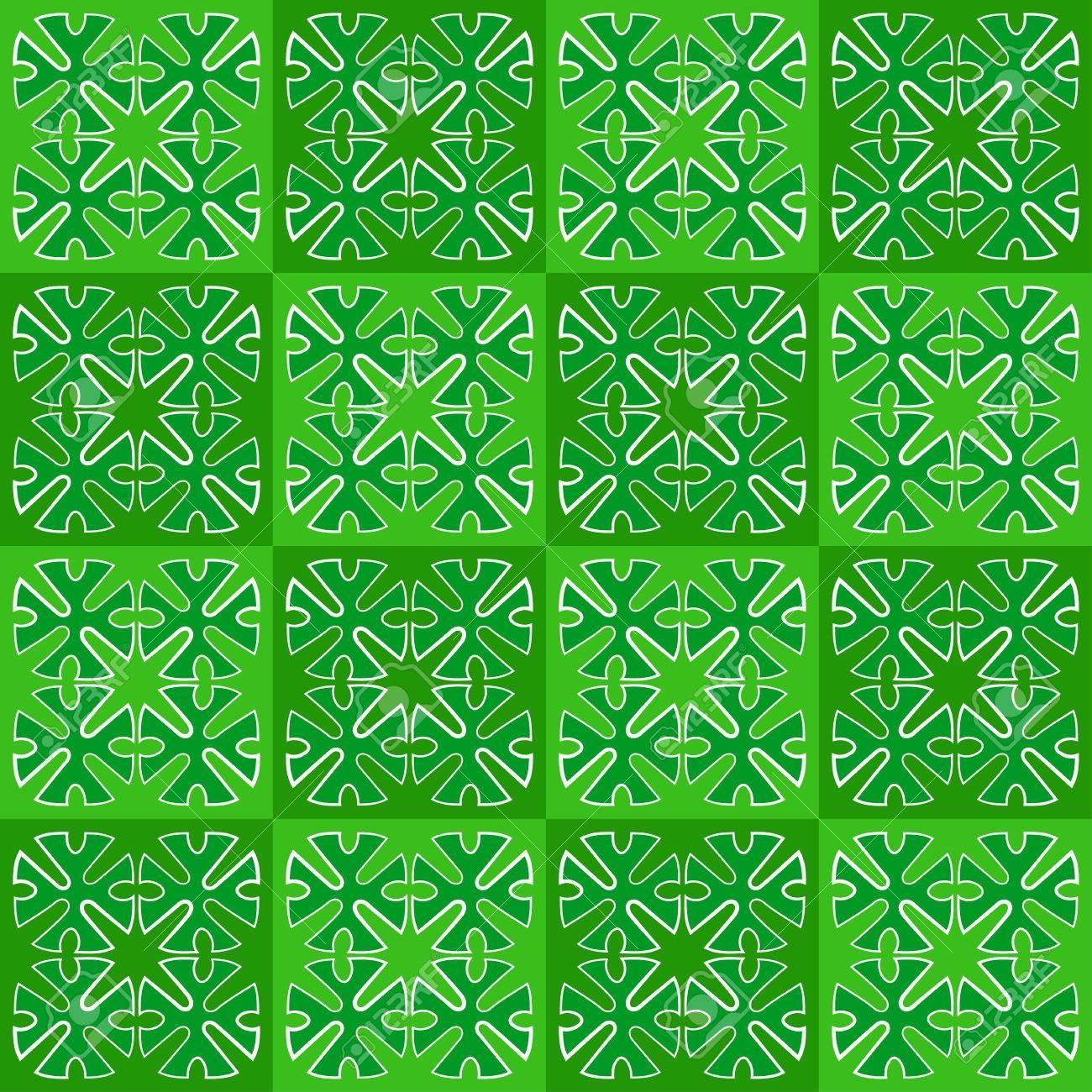 vector repitiendo el fondo de azulejos los cuadros verdes con ornamentos sin costura foto