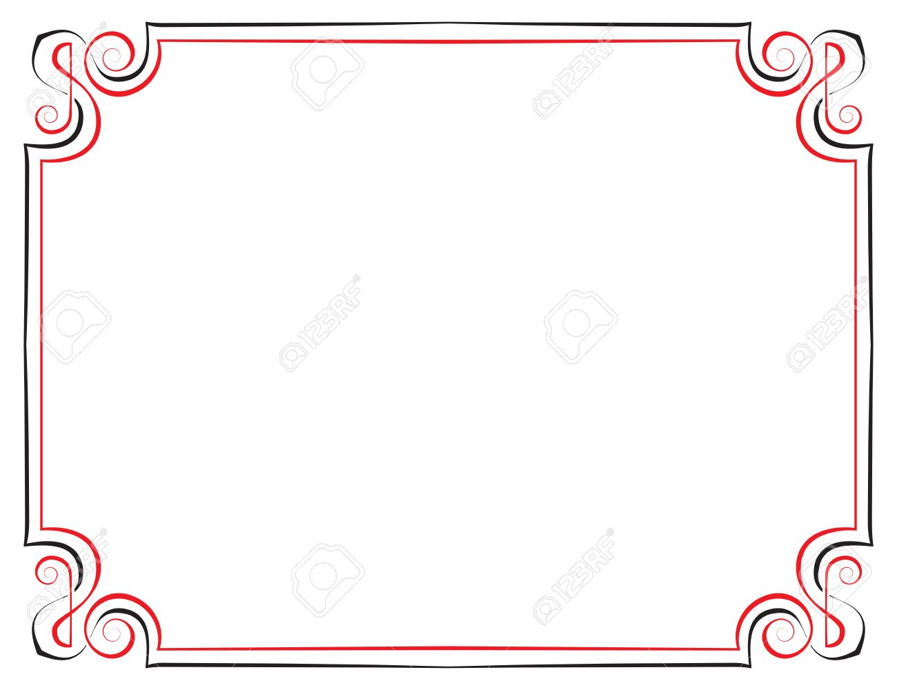 Vector Vintage Frame Black With Red On A White Background Royalty