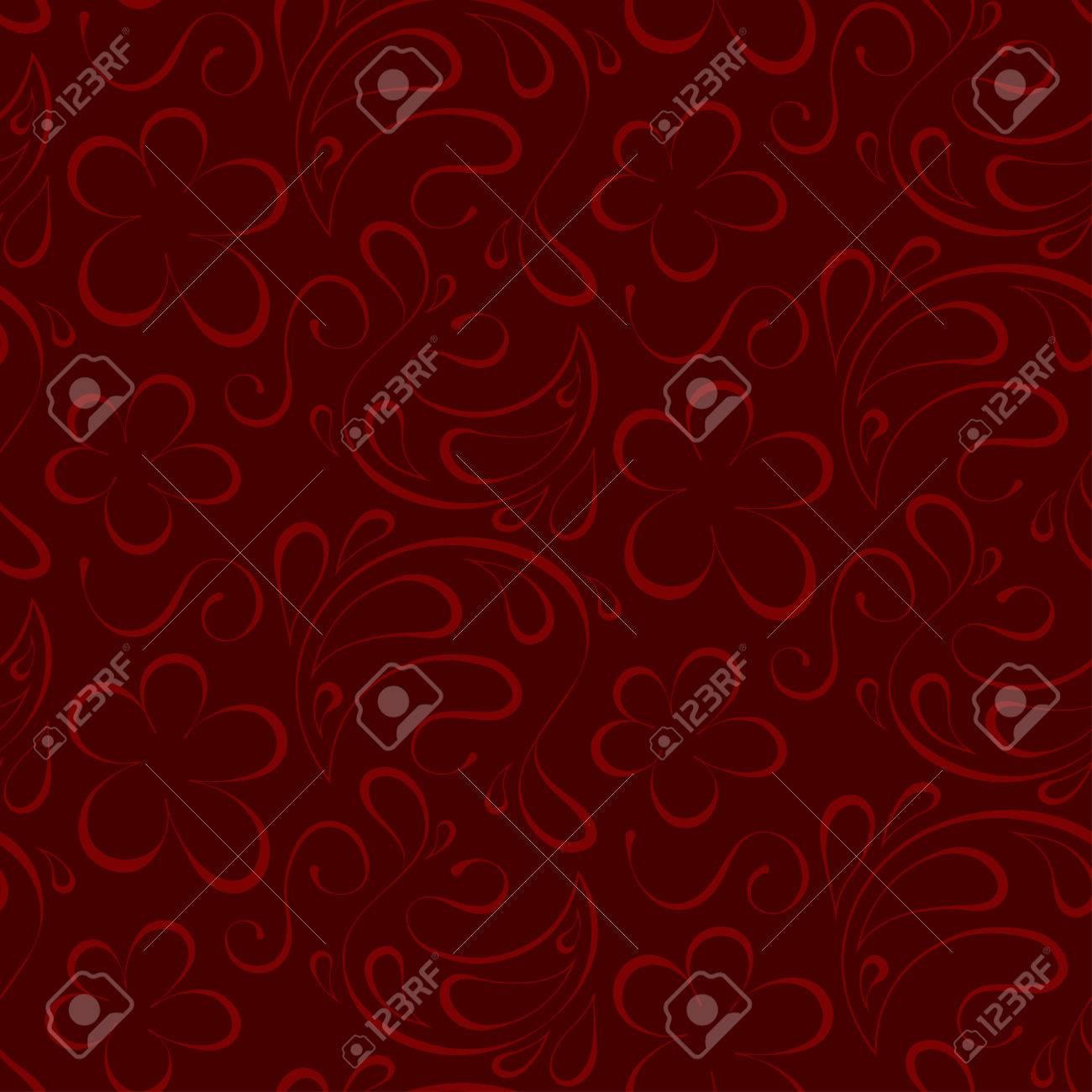 Vector Floral Background Senza Soluzione Di Continuità Rosso Modello A Sfondo Bordeaux