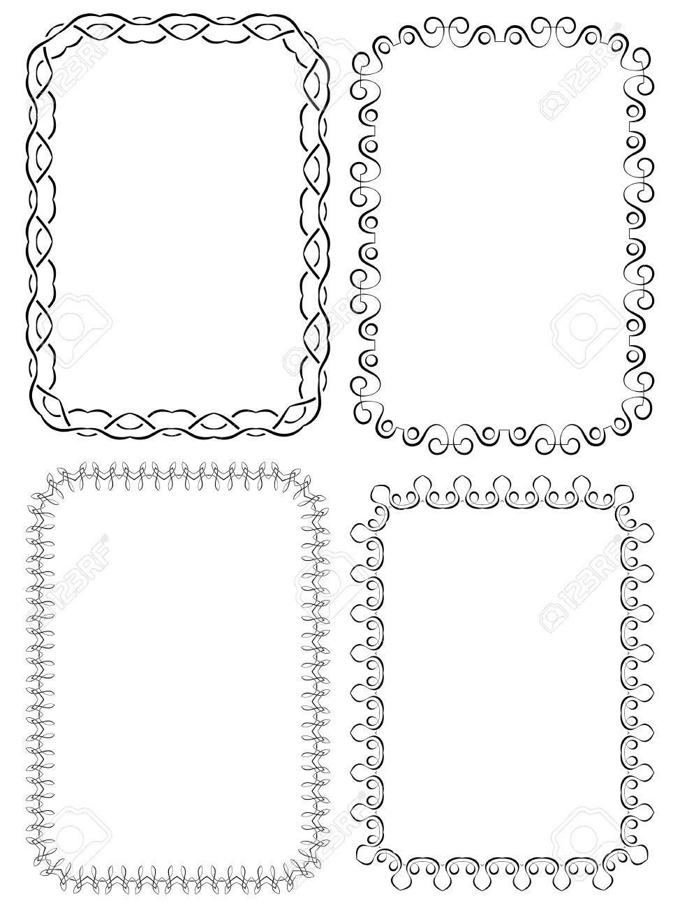Vector Set Of Four Elegant Frames On A White Background Royalty Free ...