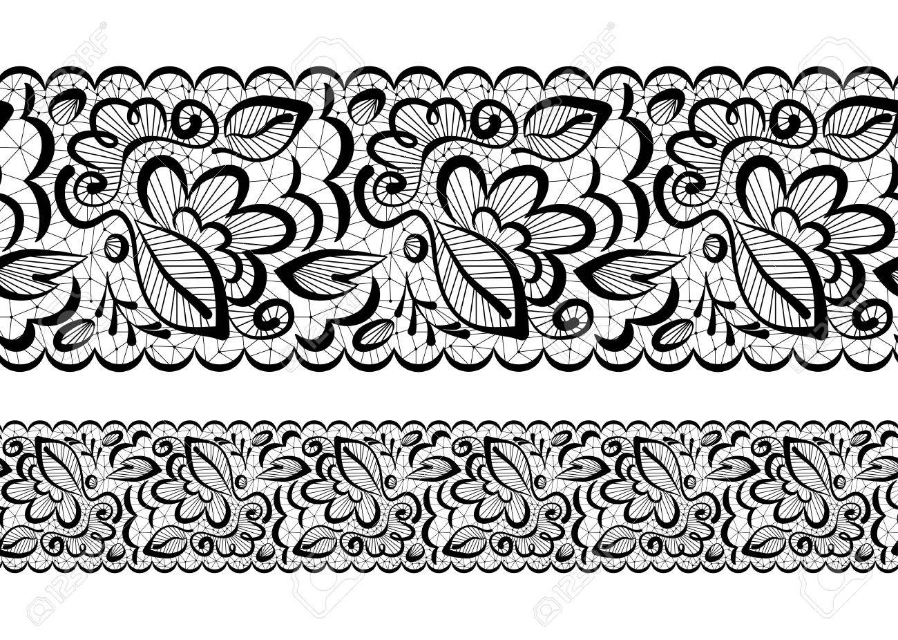 Vector Seamless Beautiful Lace Flowers And Leaves On A White