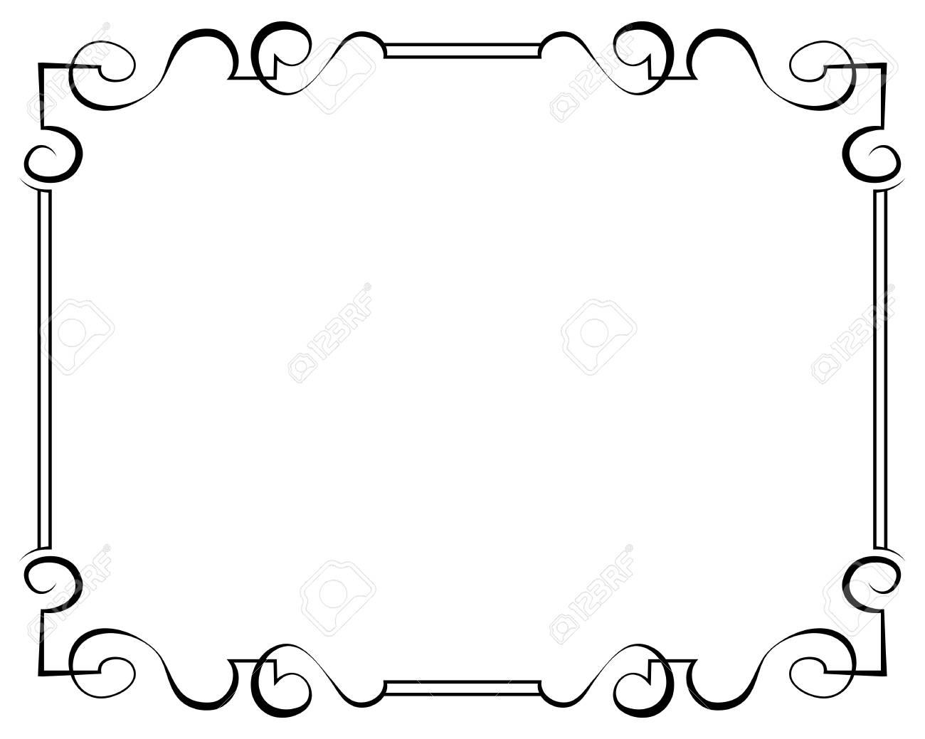 Vector Verzierten Schwarzen Rahmen Auf Weißem Hintergrund Lizenzfrei ...