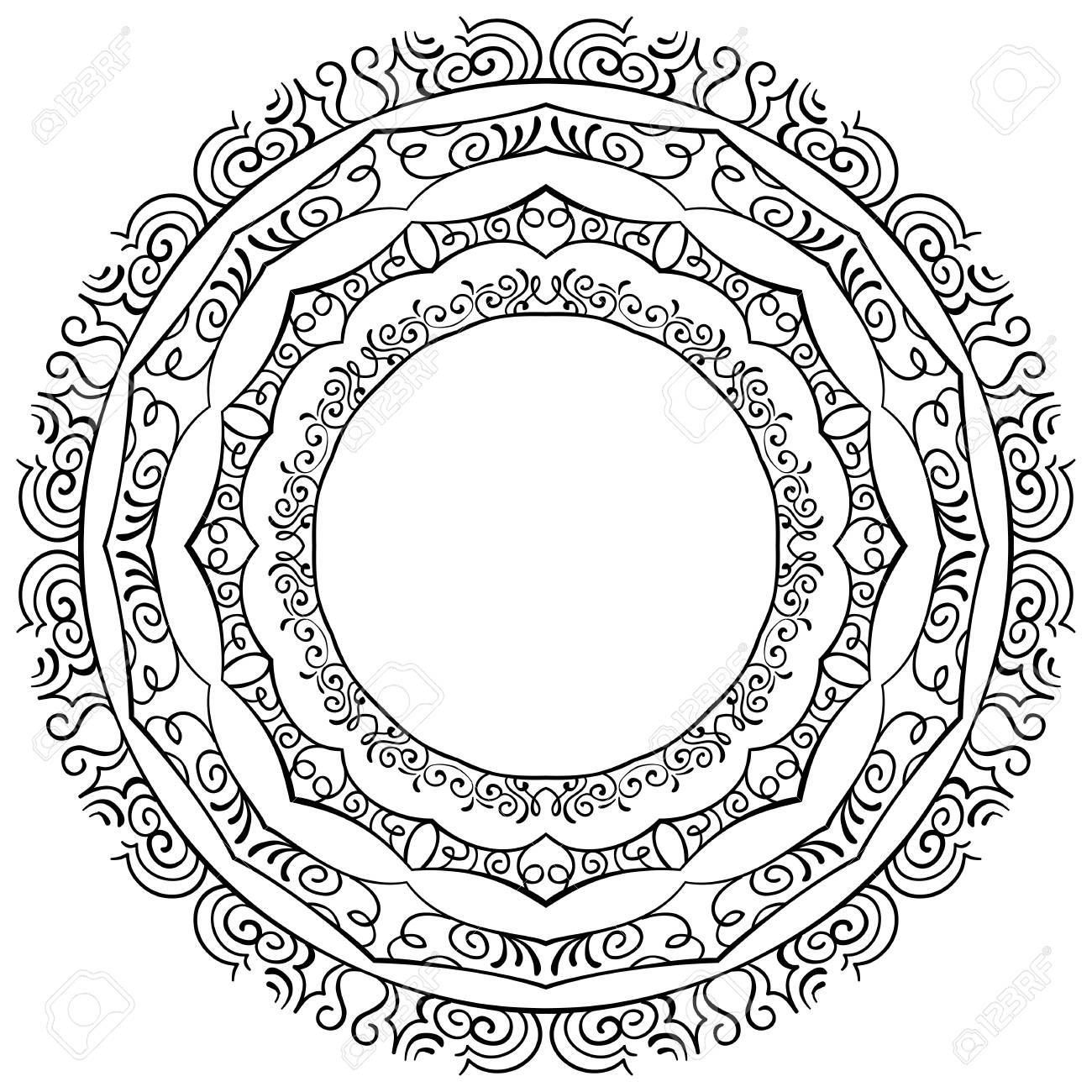 Vektor-Satz Von Runde Eleganten Rahmen Auf Einem Weißen Hintergrund ...