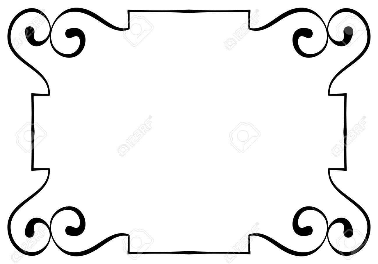 Elegante Horizontaler Schwarzer Rahmen Auf Einem Weißen Hintergrund ...