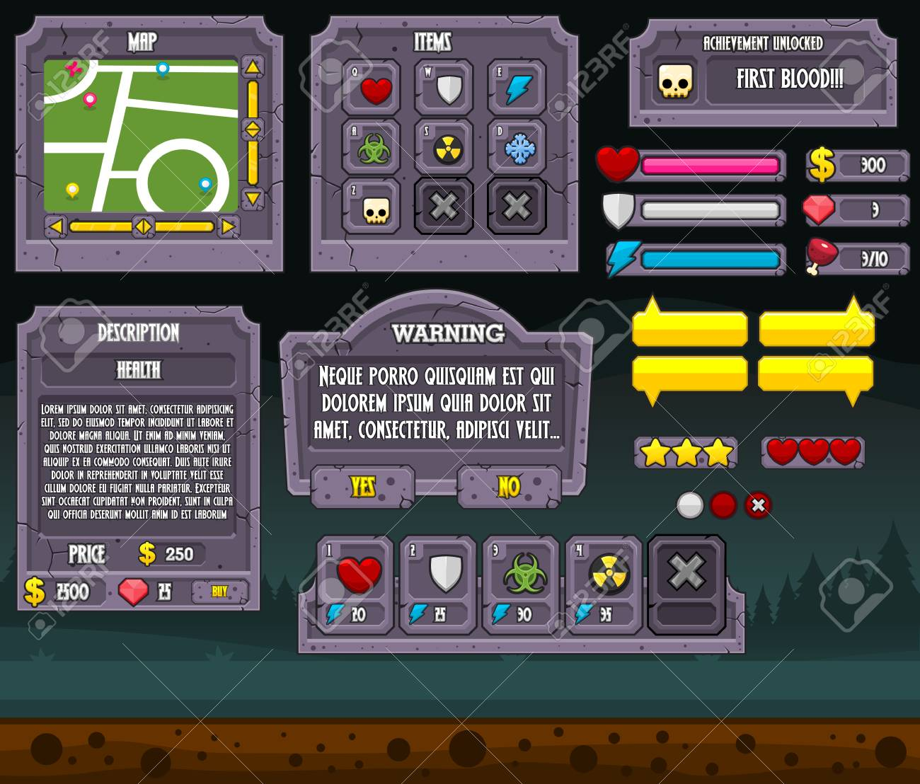 Zombie Graveyard Game Gui Interface Pack Royalty Free Cliparts