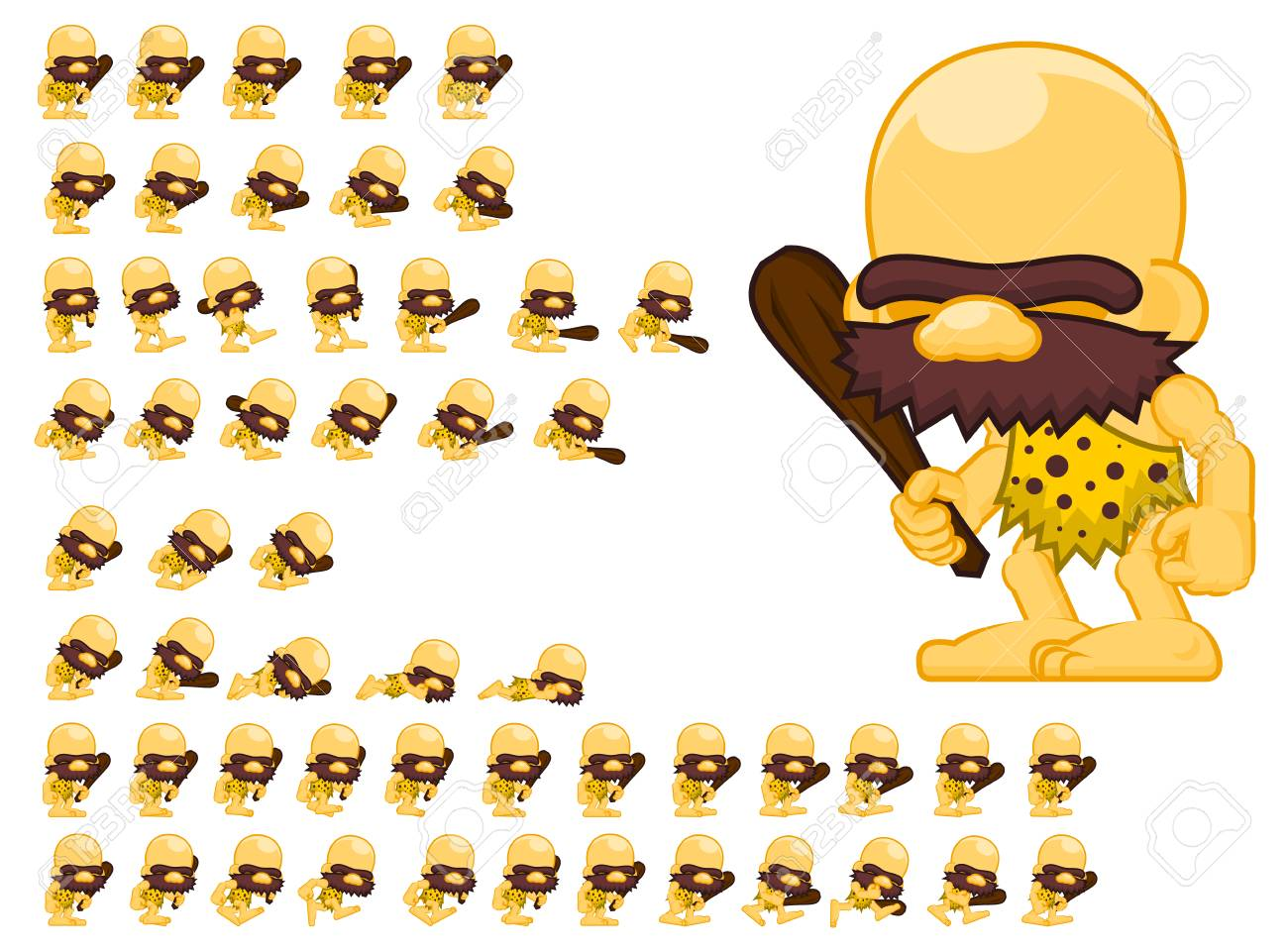 Animated cavemen game character sprites