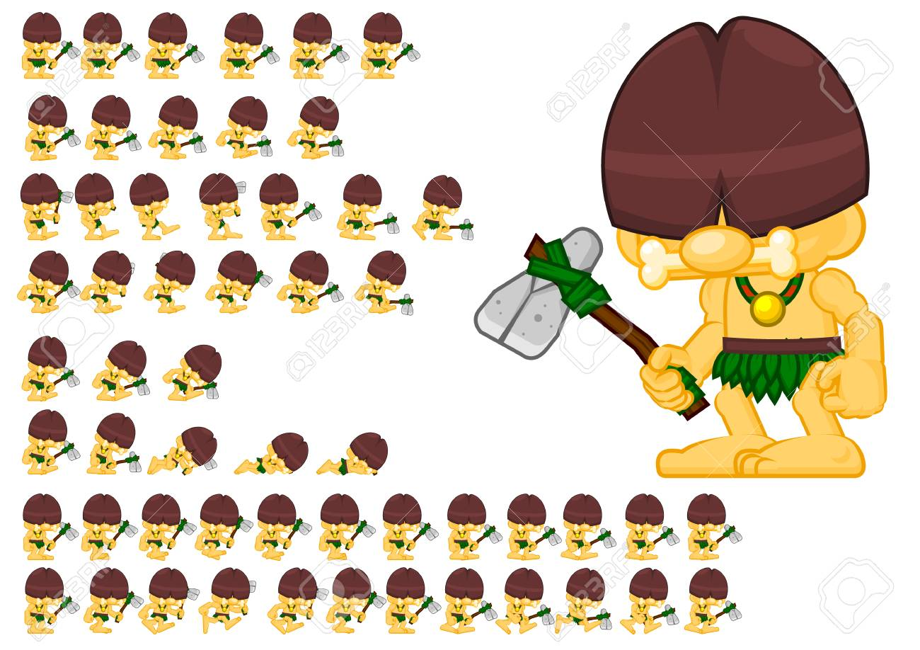 animated cavemen game character sprites royalty free cliparts